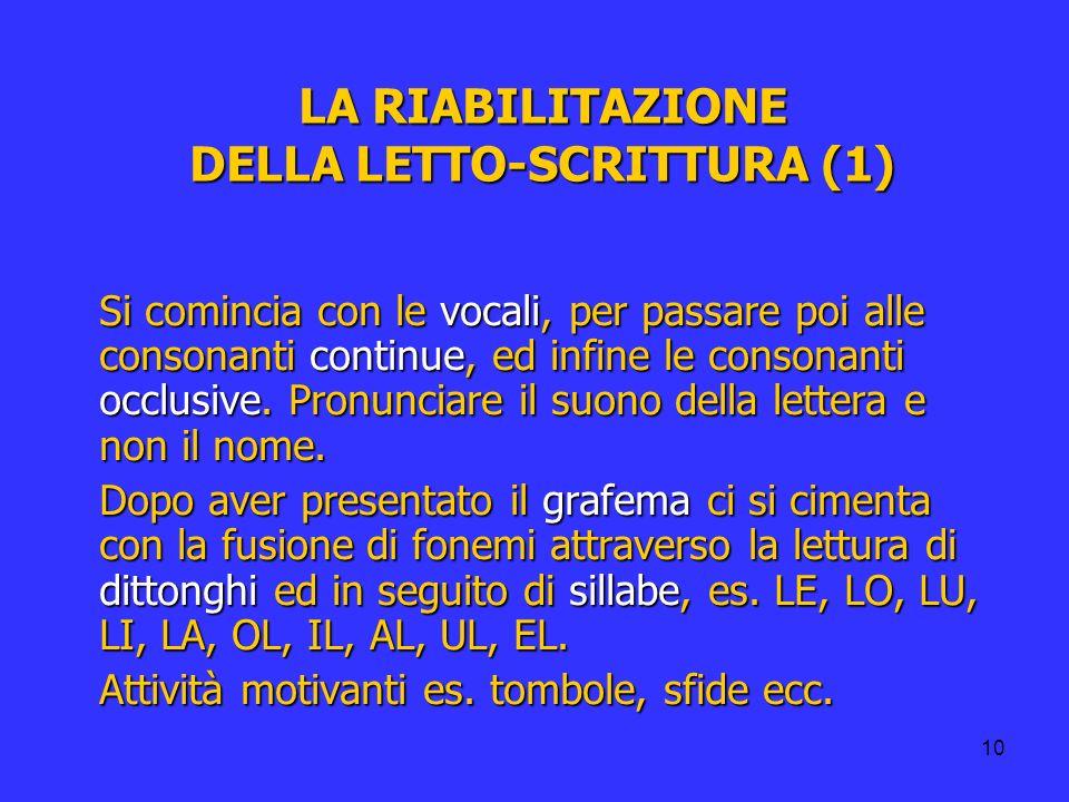 LA RIABILITAZIONE DELLA LETTO-SCRITTURA (1)
