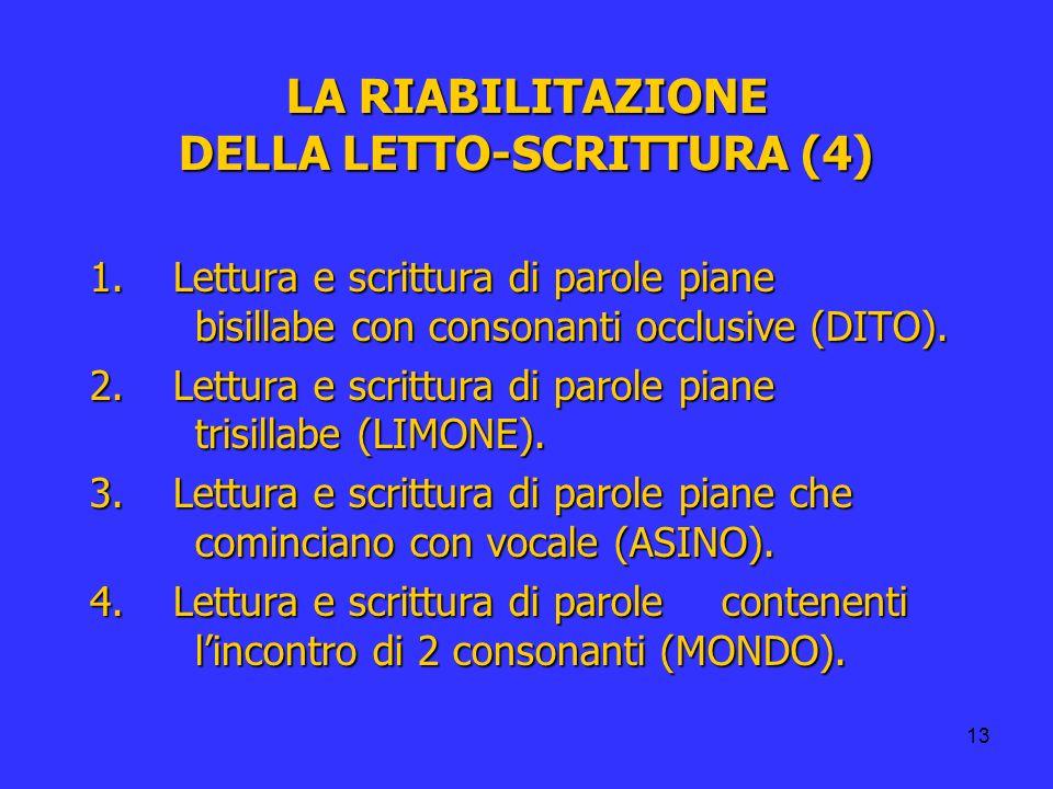 LA RIABILITAZIONE DELLA LETTO-SCRITTURA (4)