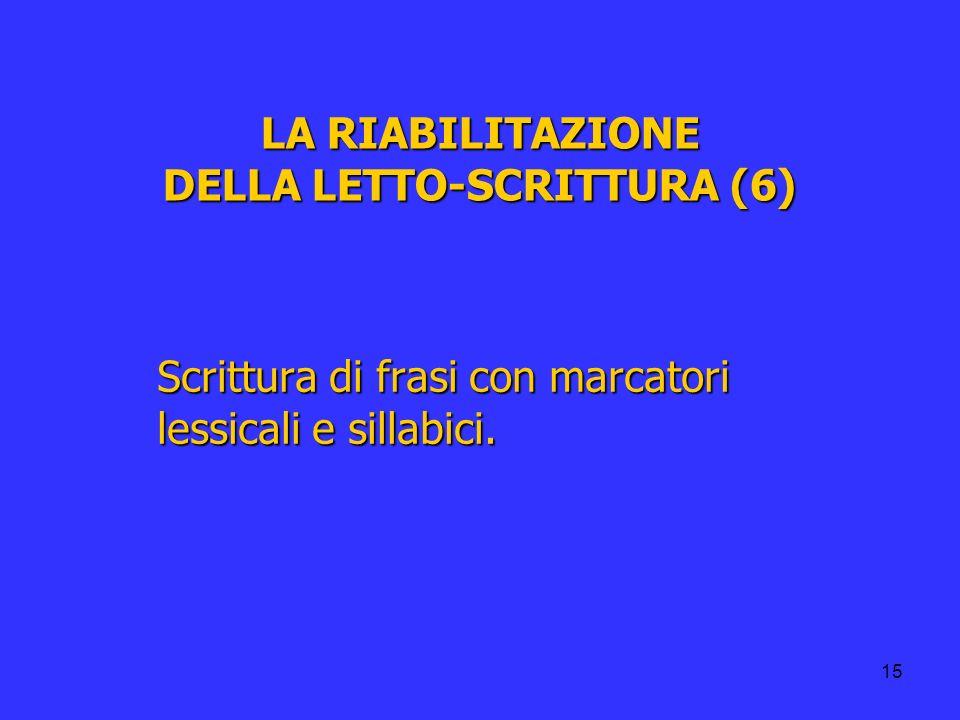 LA RIABILITAZIONE DELLA LETTO-SCRITTURA (6)