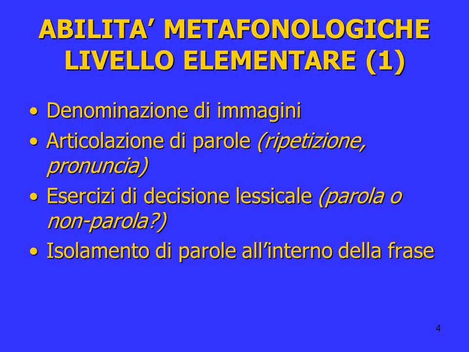 ABILITA' METAFONOLOGICHE LIVELLO ELEMENTARE (1)