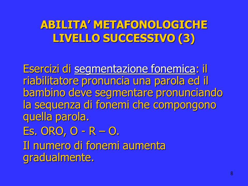 ABILITA' METAFONOLOGICHE LIVELLO SUCCESSIVO (3)