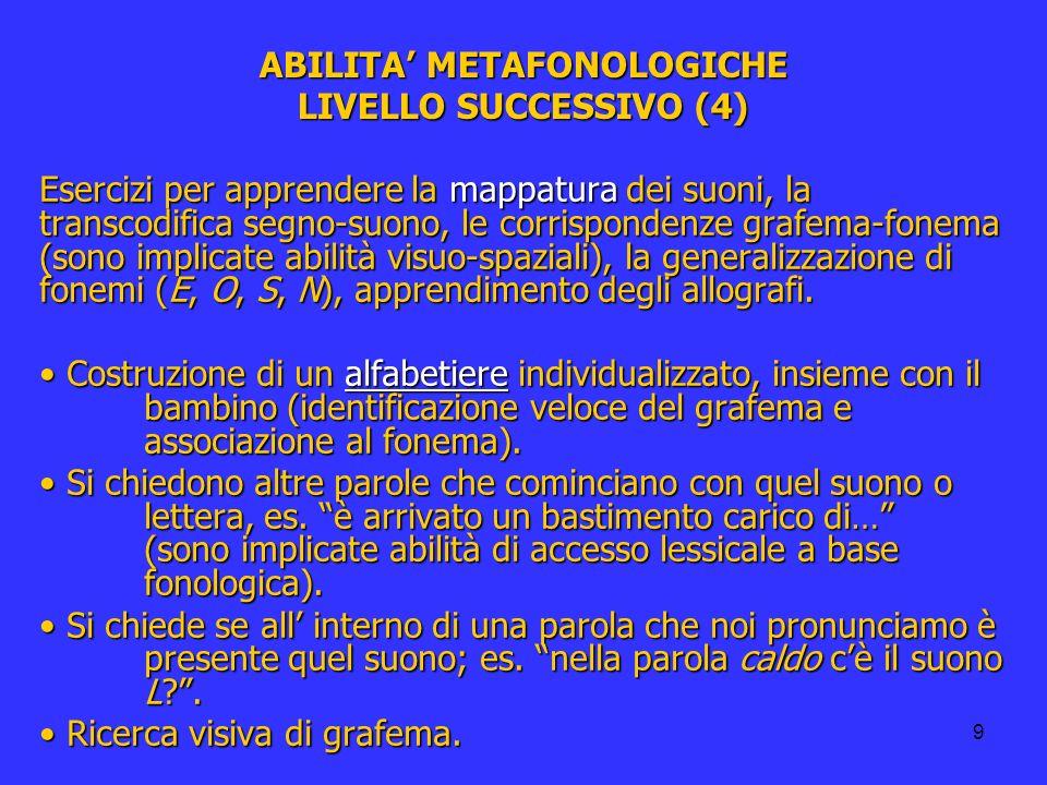 ABILITA' METAFONOLOGICHE LIVELLO SUCCESSIVO (4)