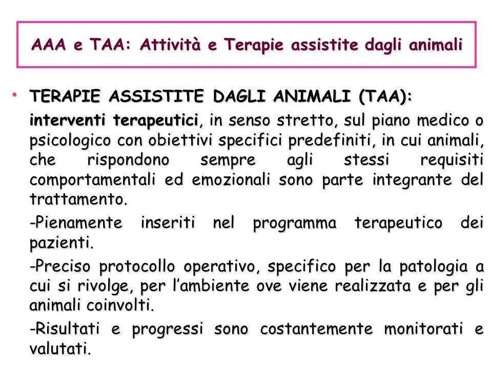 AAA e TAA: Attività e Terapie assistite dagli animali