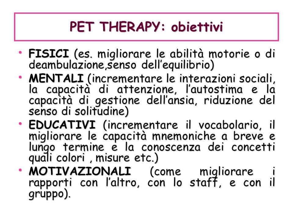 PET THERAPY: obiettivi