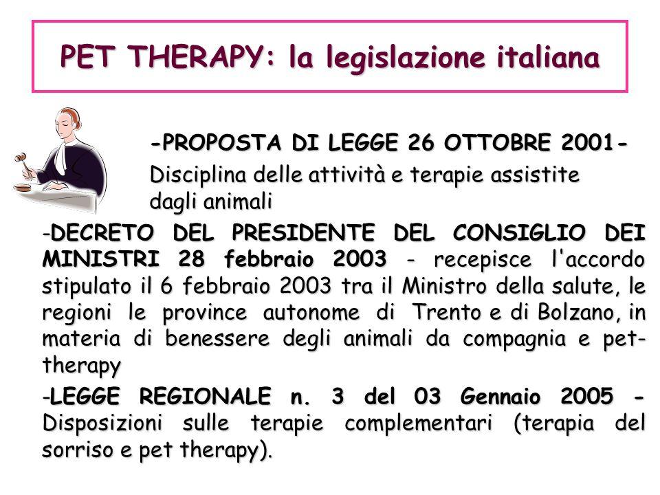 PET THERAPY: la legislazione italiana