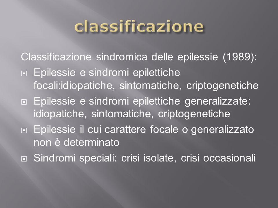 classificazione Classificazione sindromica delle epilessie (1989):