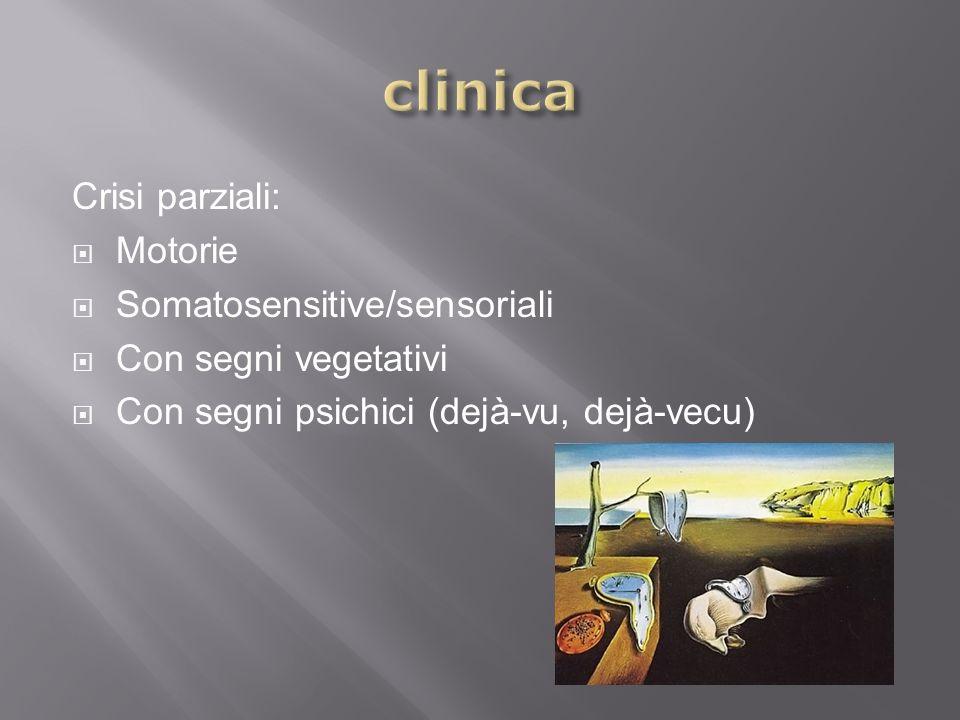 clinica Crisi parziali: Motorie Somatosensitive/sensoriali