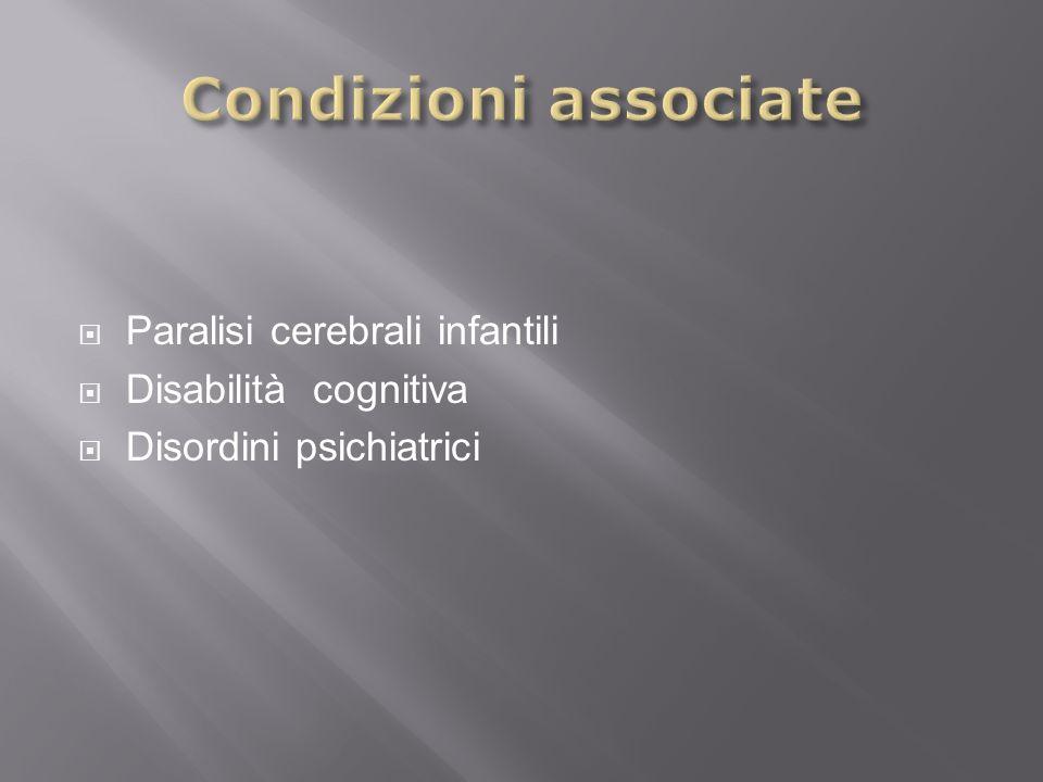 Condizioni associate Paralisi cerebrali infantili Disabilità cognitiva