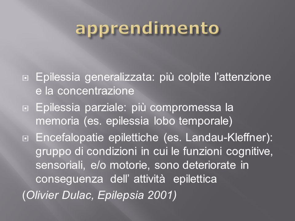 apprendimento Epilessia generalizzata: più colpite l'attenzione e la concentrazione.