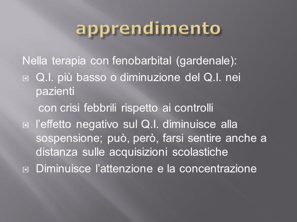 apprendimento Nella terapia con fenobarbital (gardenale):