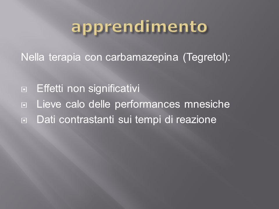 apprendimento Nella terapia con carbamazepina (Tegretol):