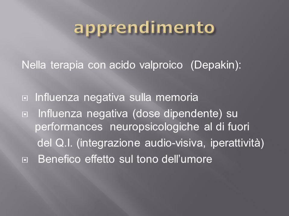 apprendimento Nella terapia con acido valproico (Depakin):