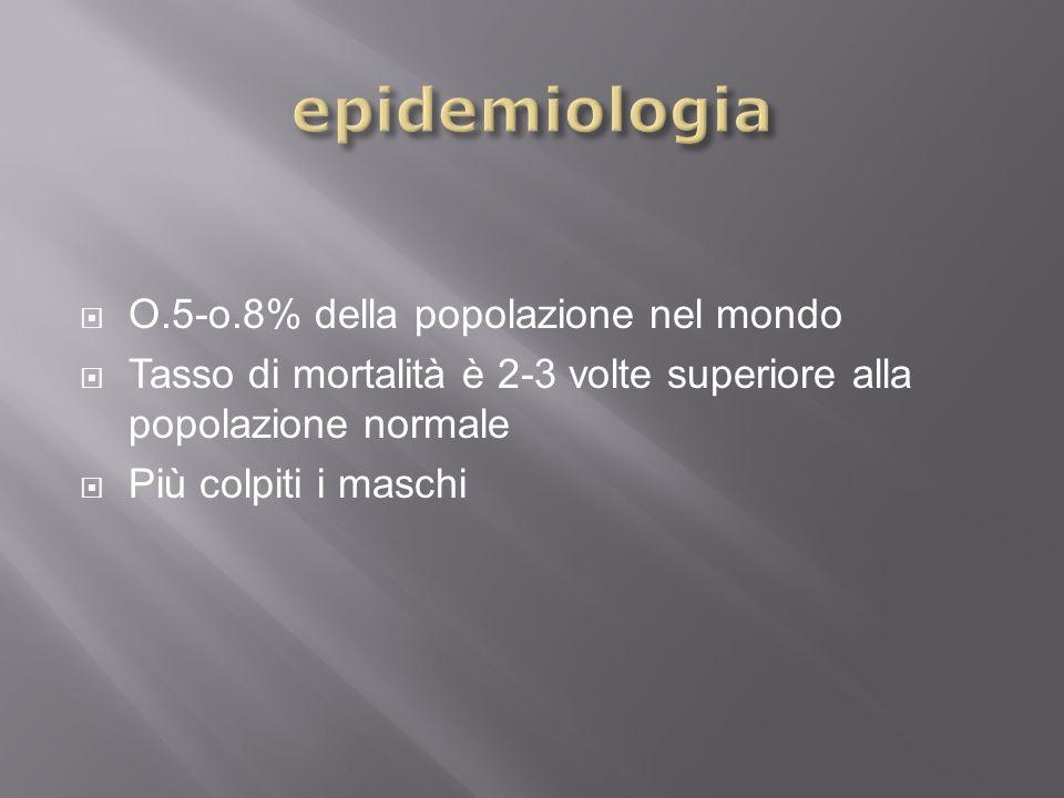 epidemiologia O.5-o.8% della popolazione nel mondo
