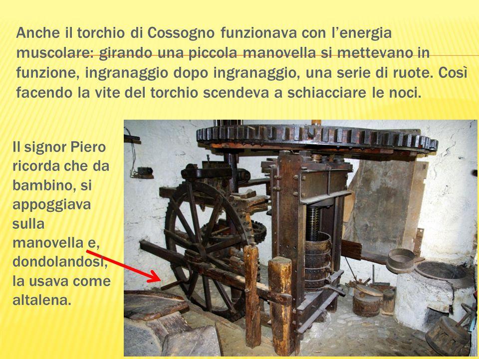 Anche il torchio di Cossogno funzionava con l'energia muscolare: girando una piccola manovella si mettevano in funzione, ingranaggio dopo ingranaggio, una serie di ruote. Così facendo la vite del torchio scendeva a schiacciare le noci.