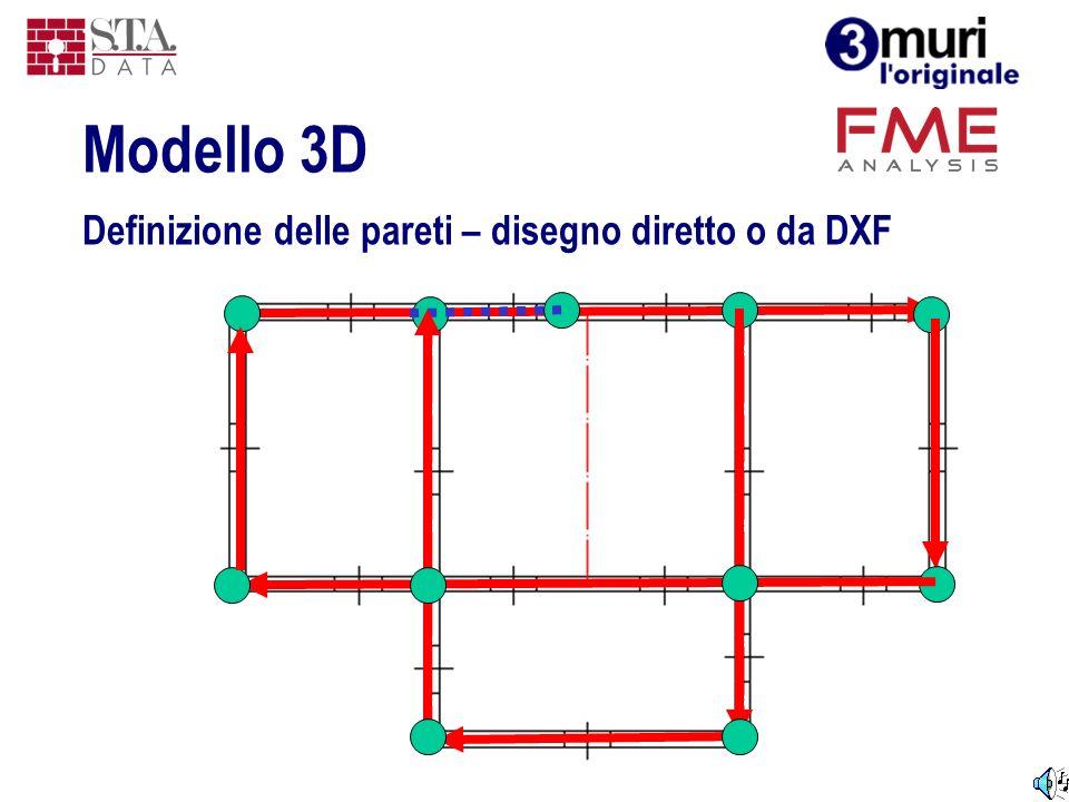 Modello 3D Definizione delle pareti – disegno diretto o da DXF