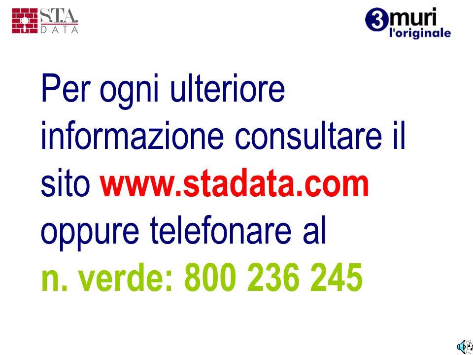 Per ogni ulteriore informazione consultare il sito www. stadata
