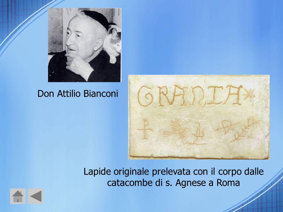 Don Attilio Bianconi Lapide originale prelevata con il corpo dalle catacombe di s. Agnese a Roma