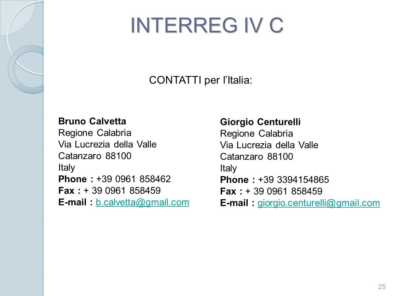 INTERREG IV C CONTATTI per l'Italia: