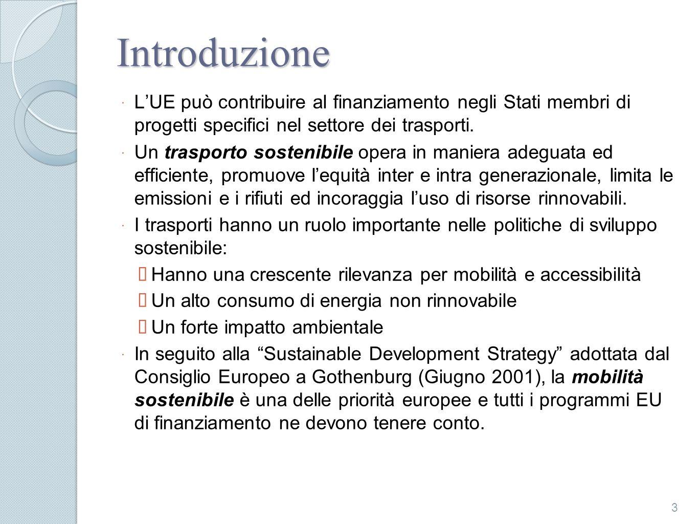 Introduzione L'UE può contribuire al finanziamento negli Stati membri di progetti specifici nel settore dei trasporti.
