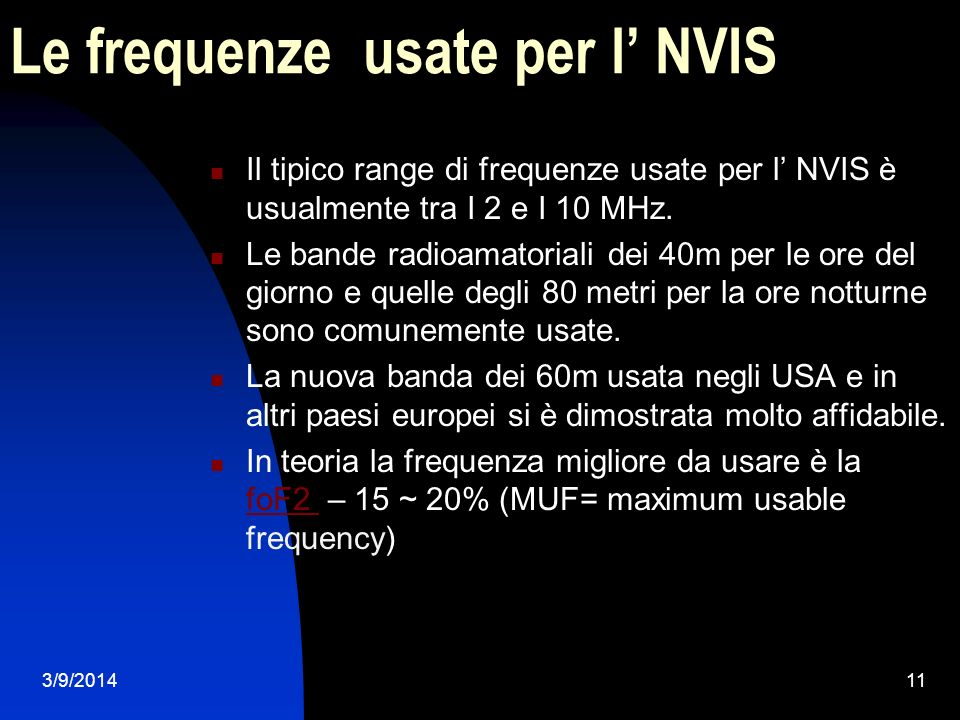 Le frequenze usate per l' NVIS
