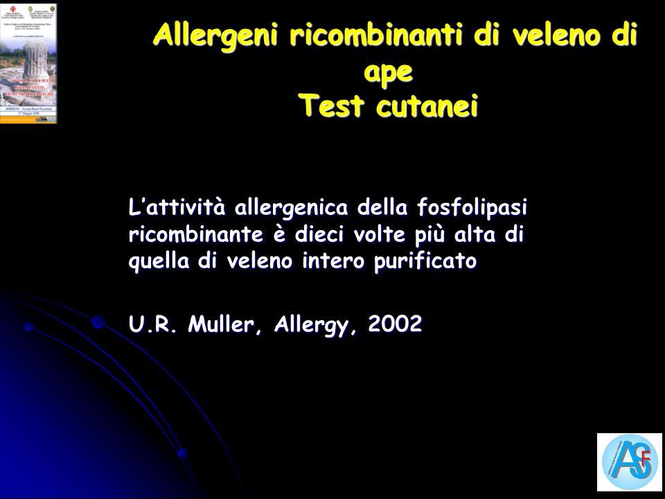 Allergeni ricombinanti di veleno di ape Test cutanei
