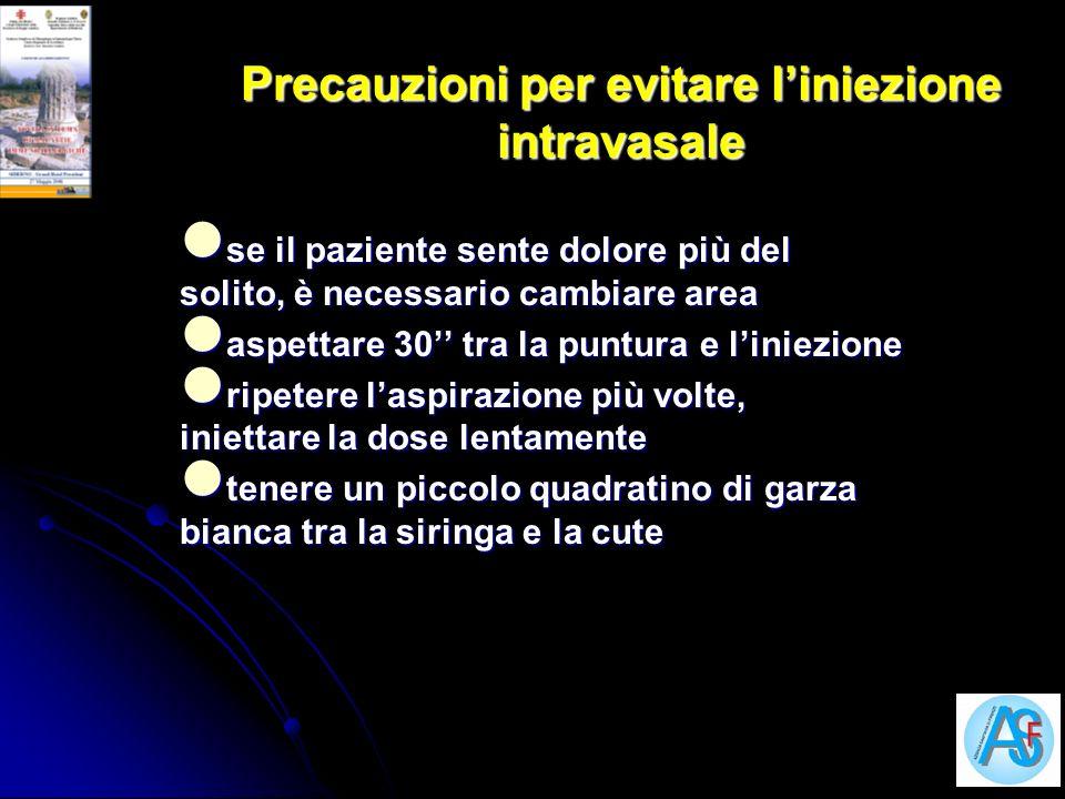 Precauzioni per evitare l'iniezione intravasale