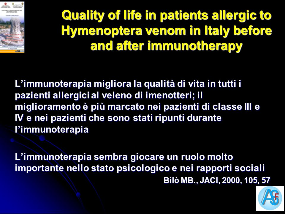 Quality of life in patients allergic to Hymenoptera venom in Italy before and after immunotherapy