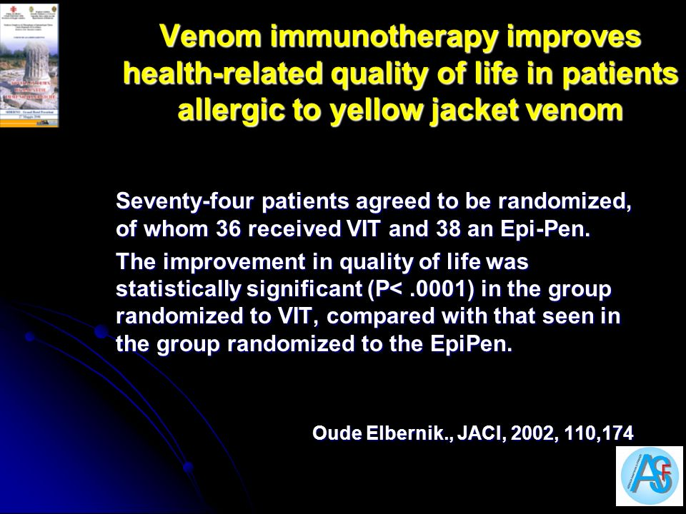 Venom immunotherapy improves health-related quality of life in patients allergic to yellow jacket venom
