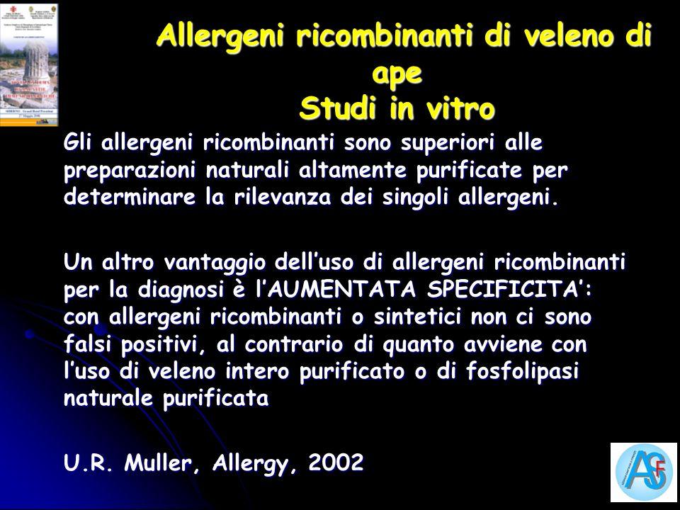 Allergeni ricombinanti di veleno di ape Studi in vitro