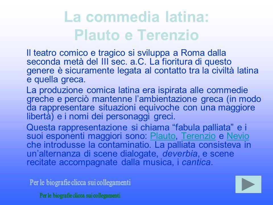 La commedia latina: Plauto e Terenzio