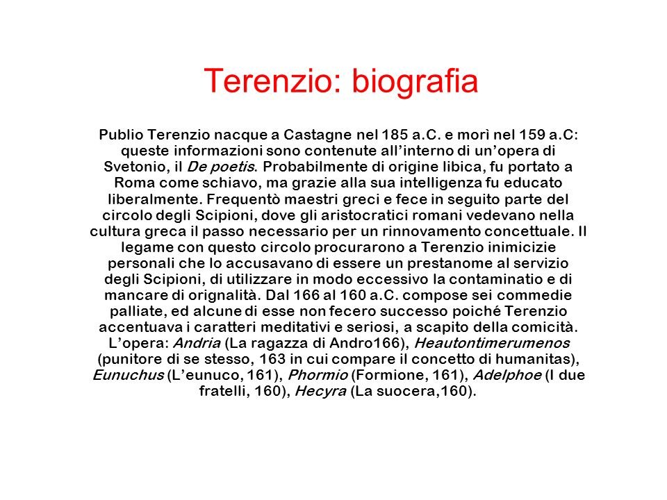Terenzio: biografia