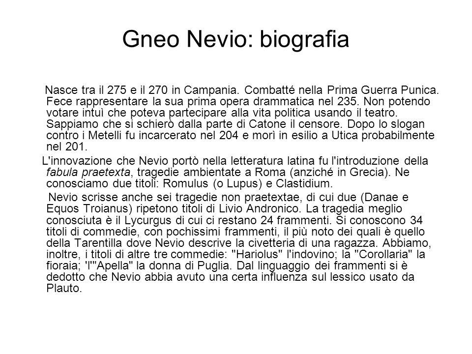 Gneo Nevio: biografia
