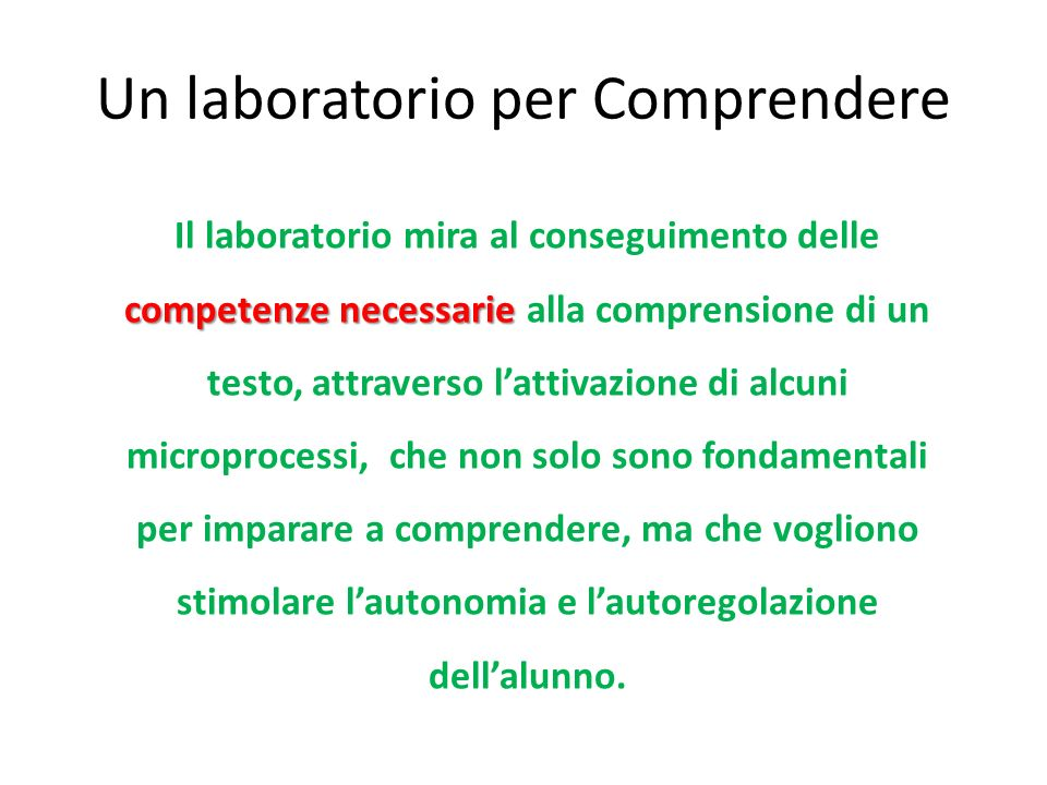 Un laboratorio per Comprendere