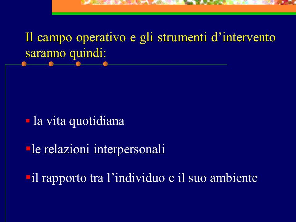 Il campo operativo e gli strumenti d'intervento saranno quindi: