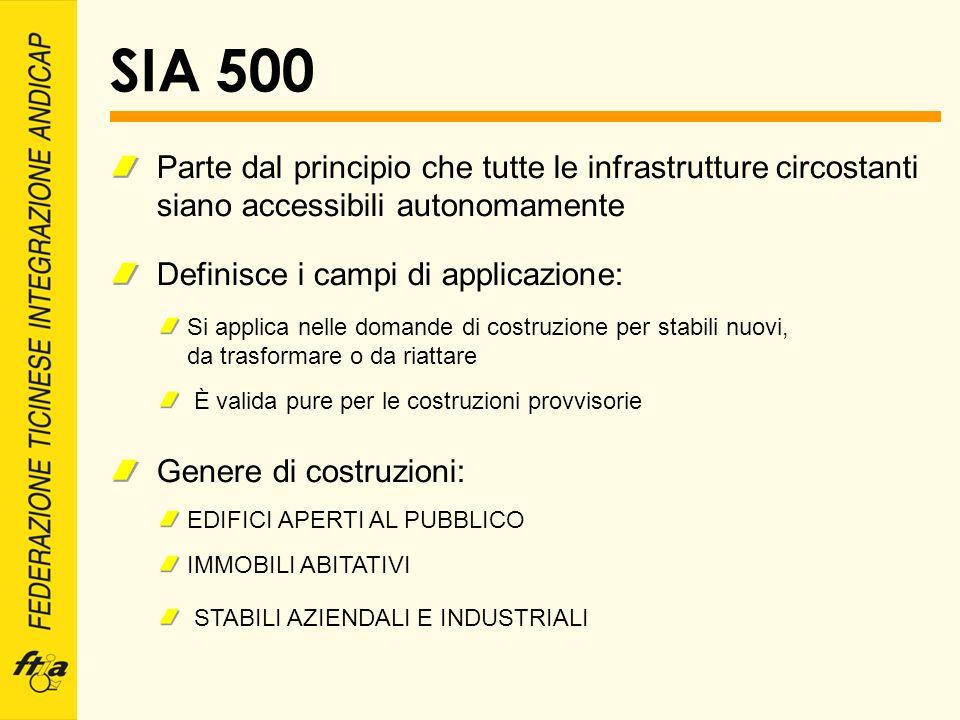 SIA 500 Parte dal principio che tutte le infrastrutture circostanti siano accessibili autonomamente.