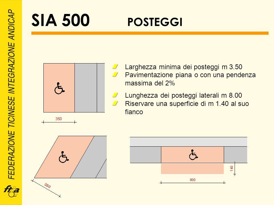 SIA 500 POSTEGGI Larghezza minima dei posteggi m 3.50