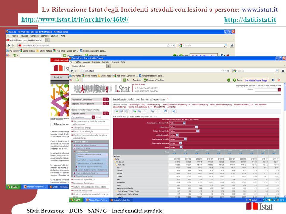 La Rilevazione Istat degli Incidenti stradali con lesioni a persone: www.istat.it