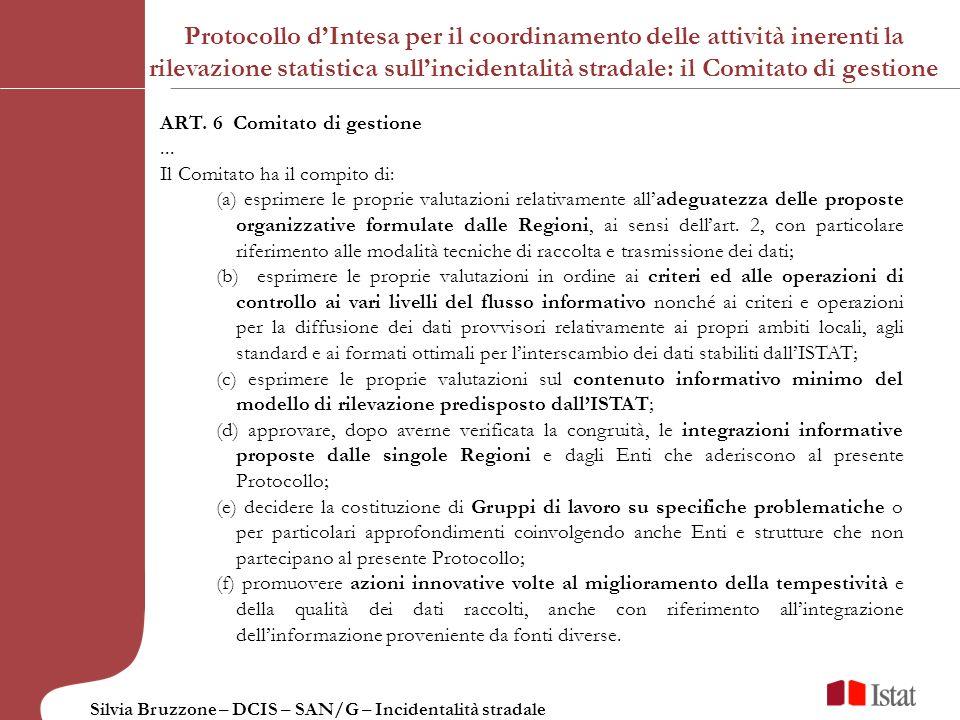 Protocollo d'Intesa per il coordinamento delle attività inerenti la rilevazione statistica sull'incidentalità stradale: il Comitato di gestione