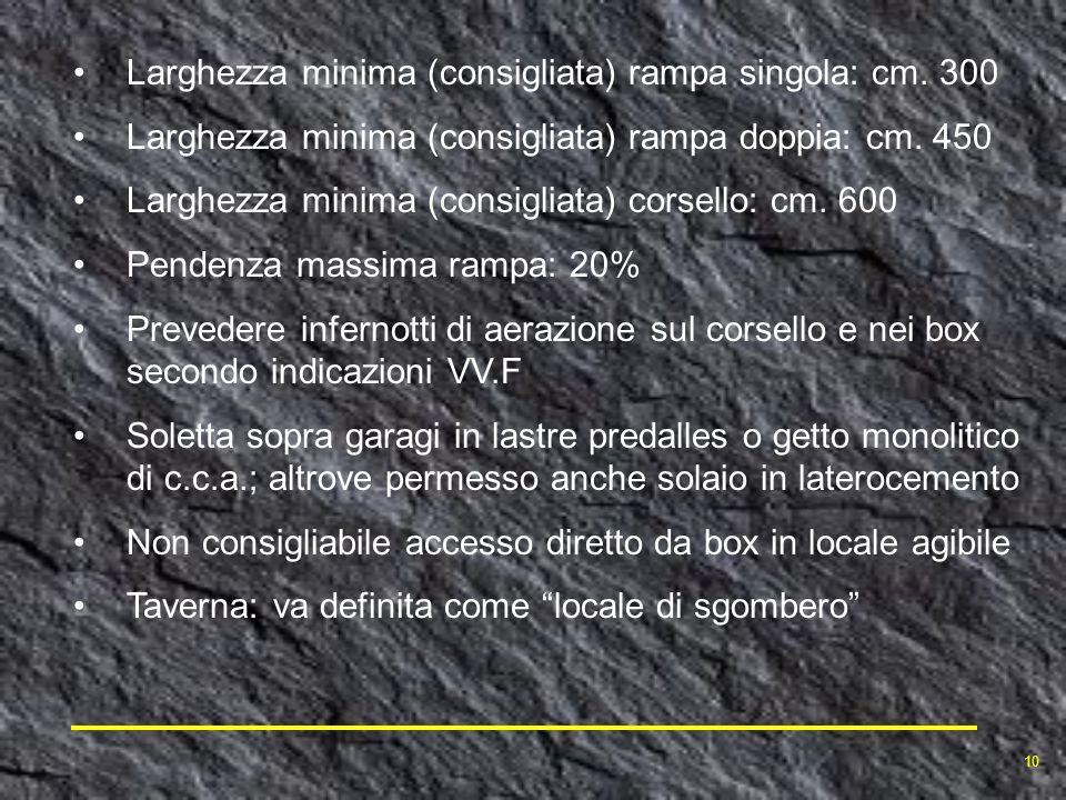 Larghezza minima (consigliata) rampa singola: cm. 300