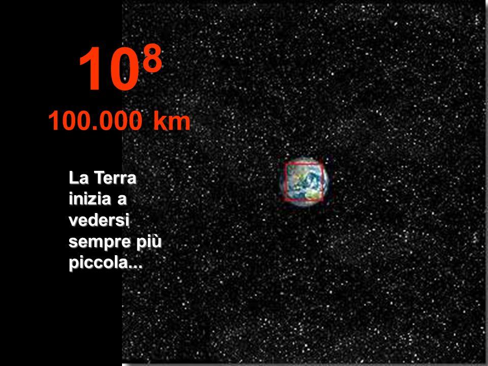 108 100.000 km La Terra inizia a vedersi sempre più piccola...