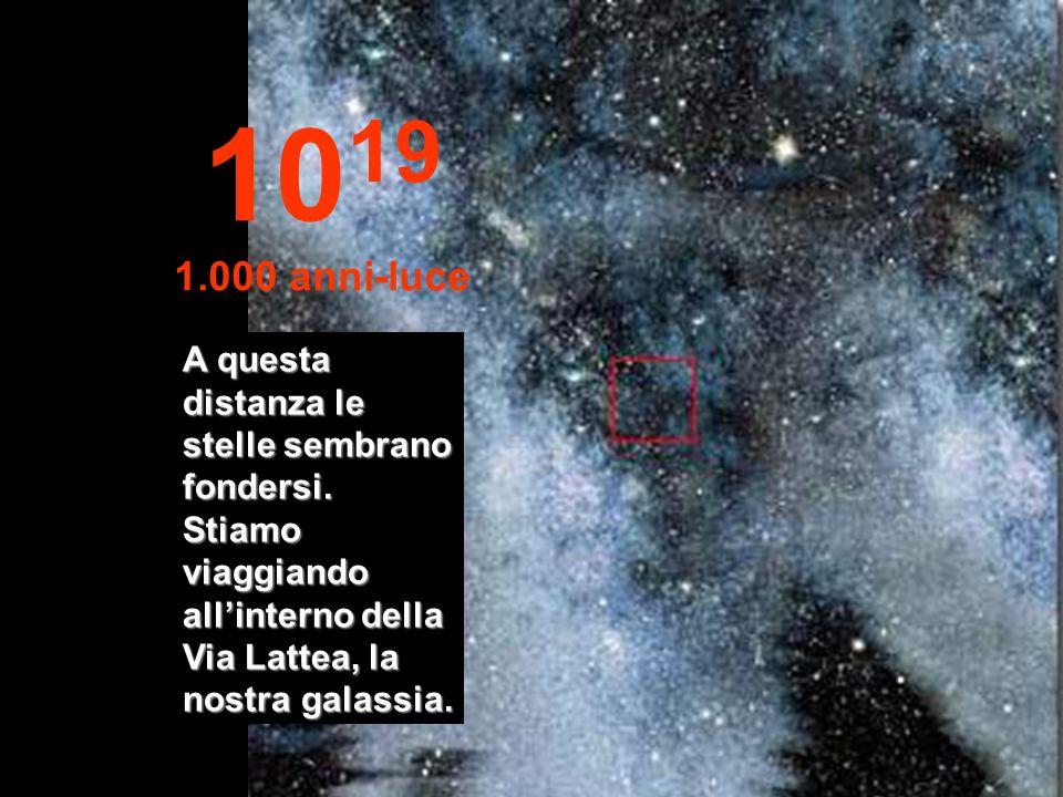 1019 1.000 anni-luce. A questa distanza le stelle sembrano fondersi.