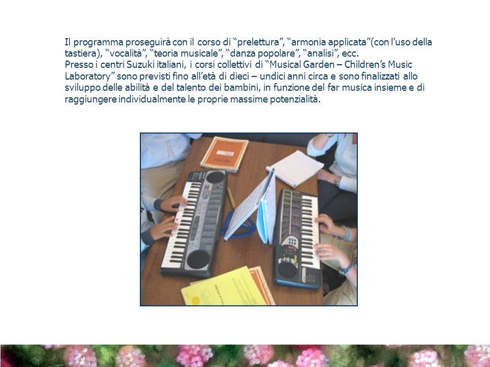 Il programma proseguirà con il corso di prelettura , armonia applicata (con l'uso della tastiera), vocalità , teoria musicale , danza popolare , analisi , ecc.