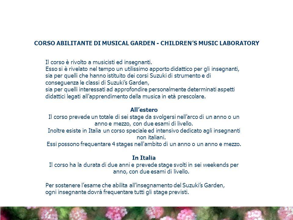 CORSO ABILITANTE DI MUSICAL GARDEN - CHILDREN'S MUSIC LABORATORY