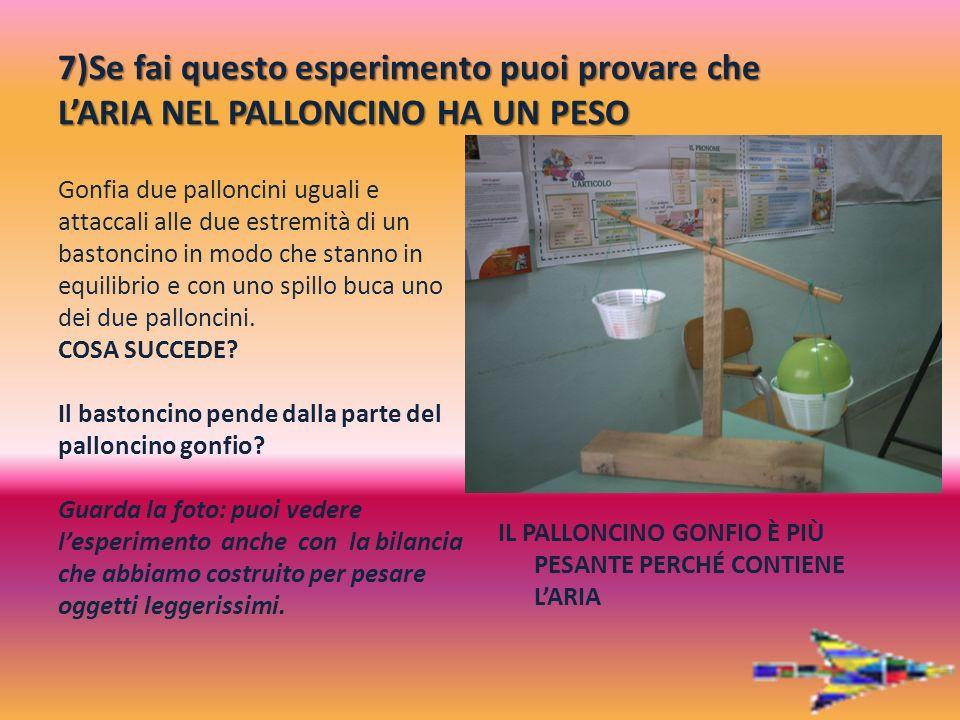 7)Se fai questo esperimento puoi provare che L'ARIA NEL PALLONCINO HA UN PESO