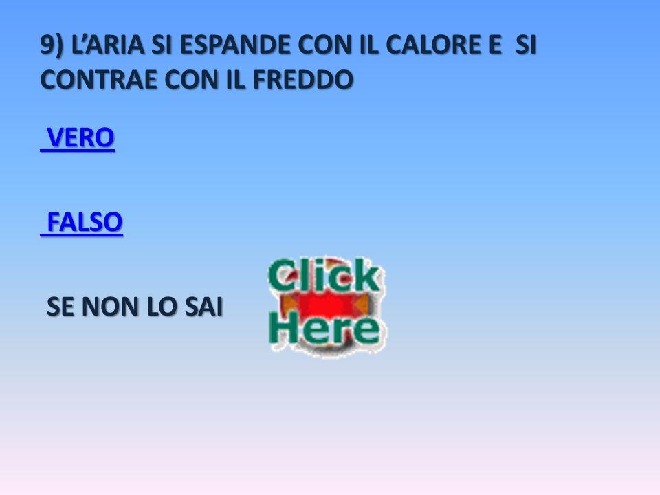 9) L'ARIA SI ESPANDE CON IL CALORE E SI CONTRAE CON IL FREDDO