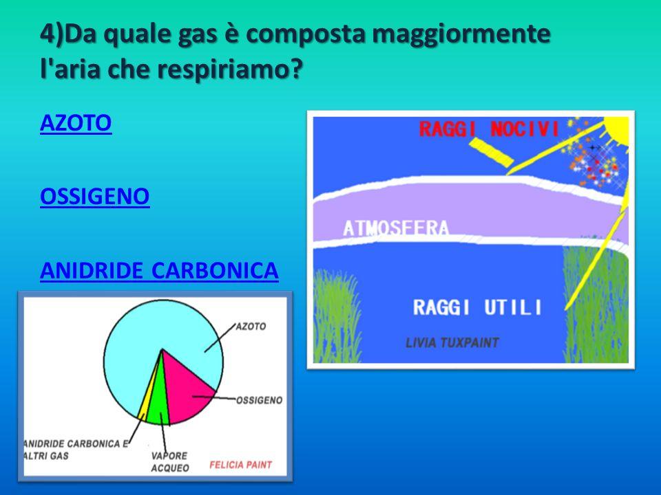 4)Da quale gas è composta maggiormente l aria che respiriamo