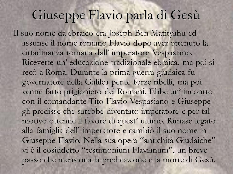 Giuseppe Flavio parla di Gesù