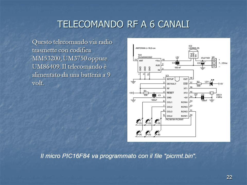 TELECOMANDO RF A 6 CANALI