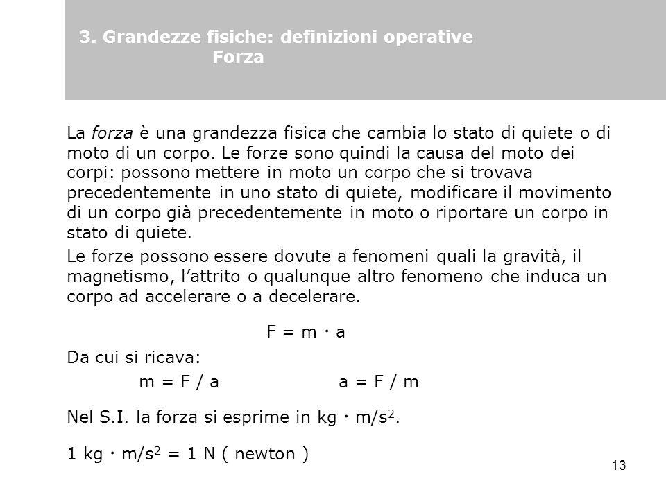 3. Grandezze fisiche: definizioni operative Forza