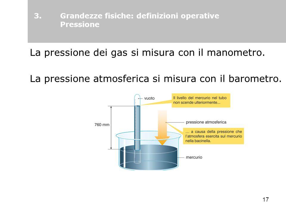 Grandezze fisiche: definizioni operative Pressione